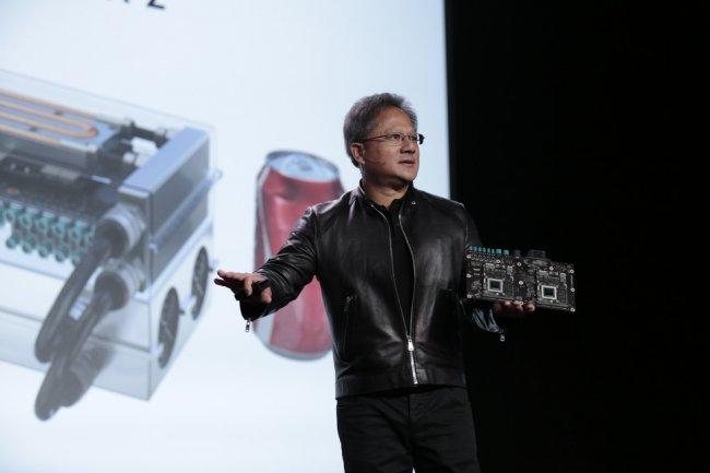 Jen-Hsun Huang, CEO de Nvidia, a présenté hier son superordinateur sur base ARM pour voitures autonomes. (Crédit Nvidia)