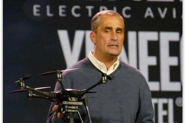 Le Typhoon H présenté au CES 2016 par le CEO d'Intel, Brian Krzanich. (crédit : D.R.)