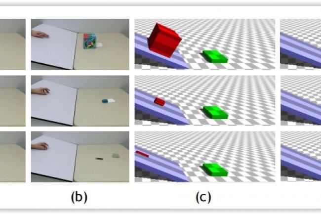 Un moteur de physique 3D convertit les vidéos de collisions montrées à gauche dans les simulations. (crédit : MIT Computer Science and Artificial Intelligence Laboratory)