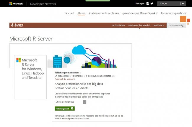 Microsoft fait évoluer la solution analytique Revolution R Enterprise évolue en plateforme R Server proposée sur MSDN et gratuitement via le programme DreamSpark pour l'enseignement (ci-dessus).