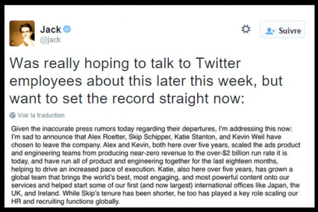 Jack Dorsey, revenu à la barre de Twitter en juillet dernier, a annoncé le départ de 5 cadres dirigeants de la société. (crédit : D.R.)