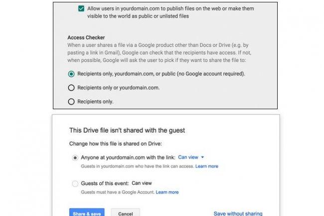 La console d'administrateur des Google Apps propose de nouveaux paramétrages pour restreindre le partage de fichiers. (crédit : D.R.)