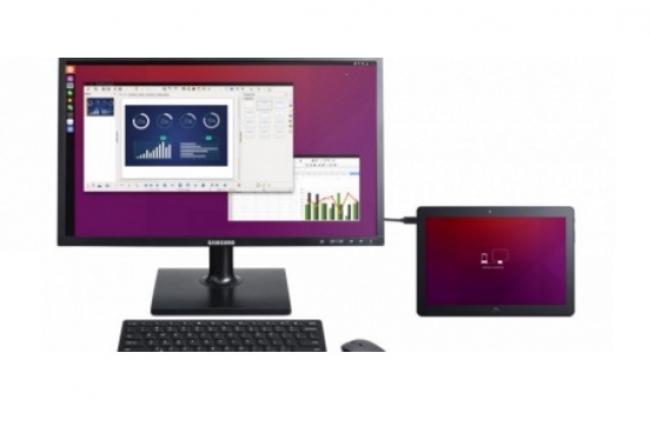 Une fois équipée d'une souris et d'un clavier, la tablette Aquaris M10 fonctionne comme un PC de bureau. (Crédit D.R)