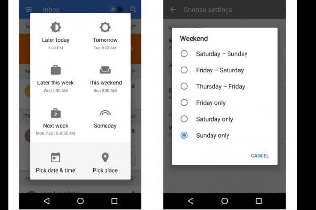 L'option Snooze de Google permet de reporter la lecture d'un message à plus tard.  Crédit: D.R.