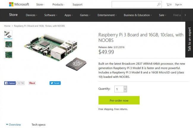 Le Raspberry Pi 3 est en pré-commande sur la boutique en ligne de Microsoft malgré les craintes de rupture de stock de Raspberry.