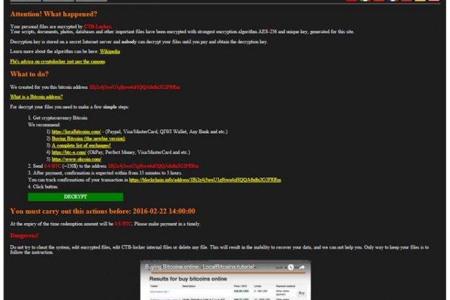 Dans un message s'affichant à l'écran, les pirates préviennent les victimes de leur ransomware CTB-Locker qu'ils doivent verser une rançon en bitcoins pour obtenir la clé de déchiffrement qui leur permettra de recouvrir leurs fichiers. (source : Kaspersky)