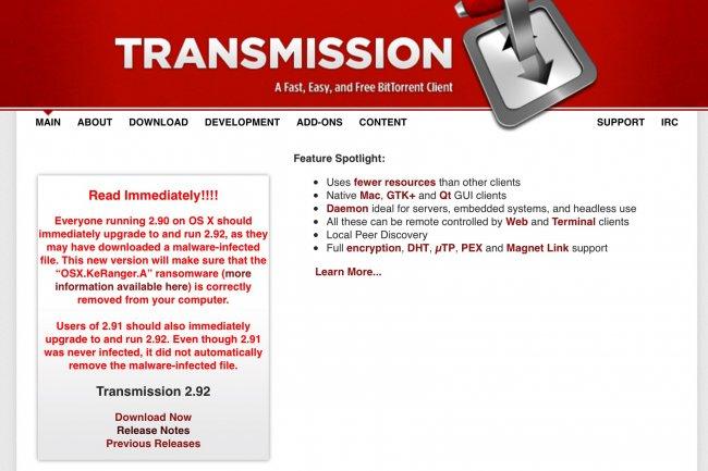 Après Windows et Linux, les ramsomwares s'attaquent au monde Mac en infectant le populaire logiciel bitorrent Transmission.