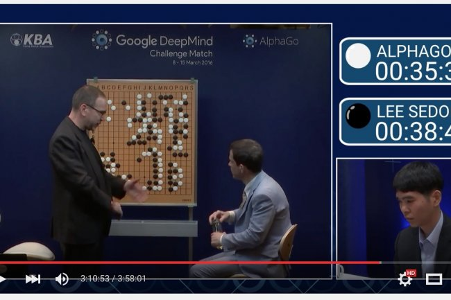 Lee SeDol, en pleine réflexion stratégique, ce matin à Séoul face au programme AlphaGo de Google Deepmind. (crédit : D.R.)