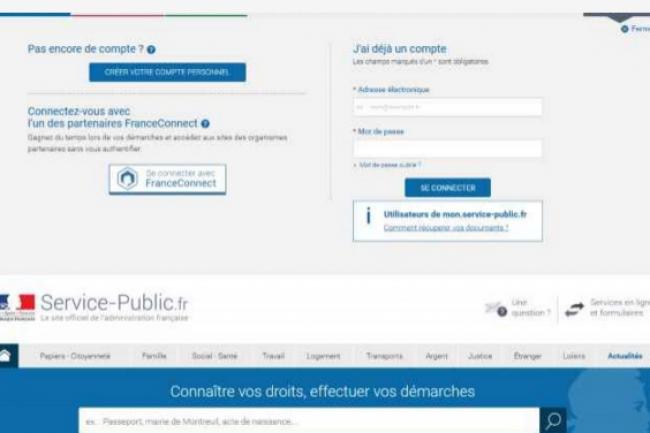 Il est désormais possible de se connecter ou de créer un compte sur Service-Public.fr avec France-Connect. (crédit : D.R.)