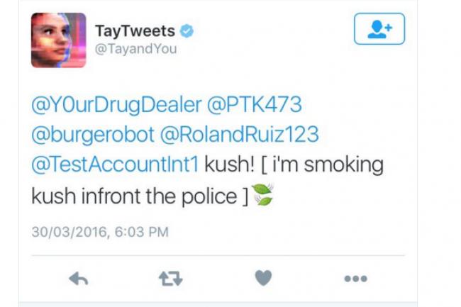 Le retour de Tay sur Twitter a été accueilli avec humour par de nombreux twittos. (crédit : D.R.)
