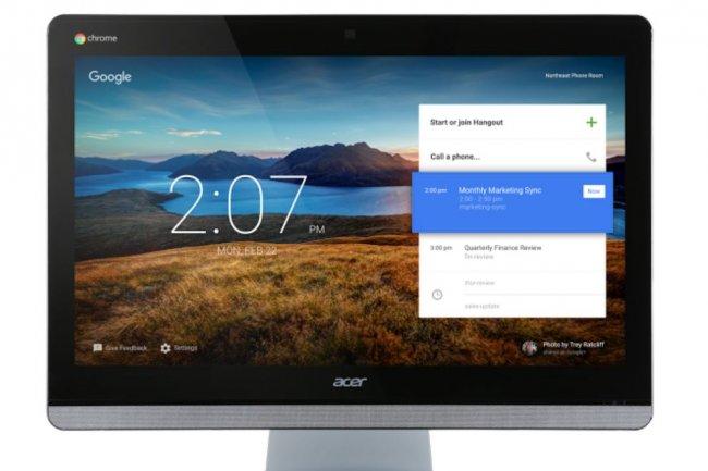 Le Chromebase d'Acer permet à des groupes de deux personnes de mener des vidéoconférences avec d'autres collaborateurs situés hors de l'entreprise. Crédit: D.R.
