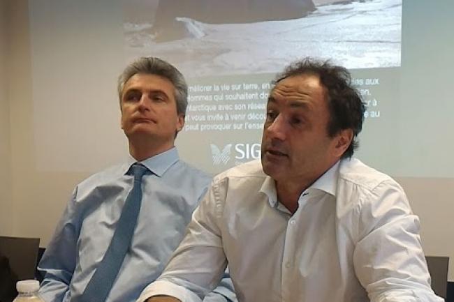 Xavier Drilhon (à gauche), directeur général délégué de Sigfox et Ludovic Le Moan, PDG de Sigfox. (crédit : Dominique Filippone)