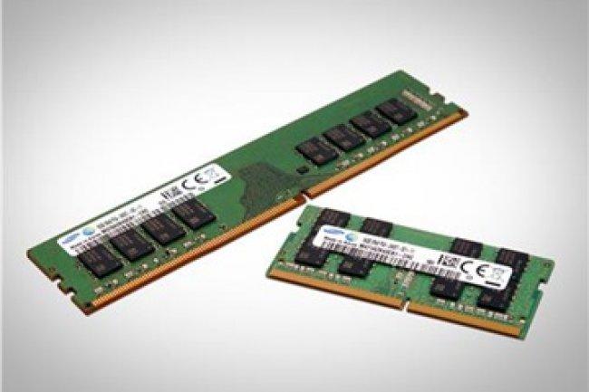 Les mémoires DDR4 de Samsung gravées en 10 nm seraient 30 % plus rapides et moins énergivores que  leur prédécesseurs gravés en 20 nm. (Crédit photo : D.R.)