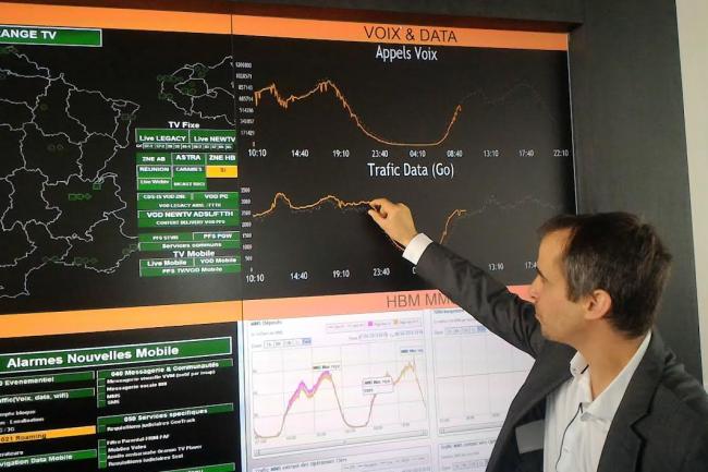 Stefan Kanis, directeur de l'exploitation réseaux et services d'Orange, montrant dans la salle de supervision du groupe (située dans ses locaux parisiens) une courbe d'évolution du trafic IP sur l'ensemble des réseaux fixes et mobiles de l'opérateur. (crédit : Dominique Filippone)