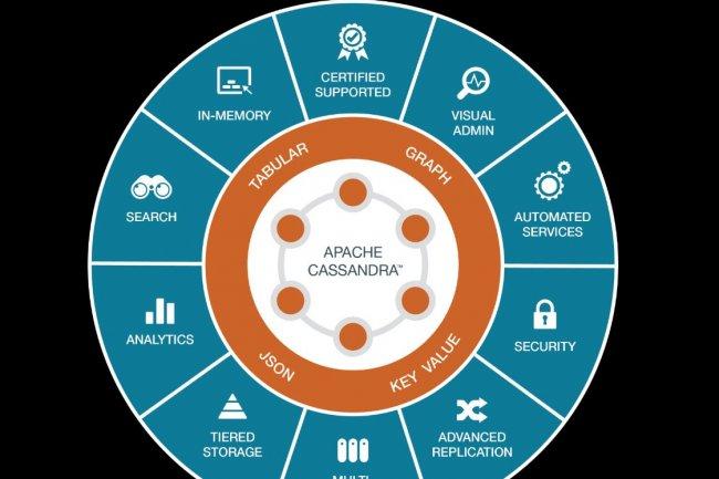 Les composants de la base DSE Graph, développée par DataStax, apportent les fonctions de recherche avec Solr et d'analyse intégrée avec Spark. (crédit : D.R.)