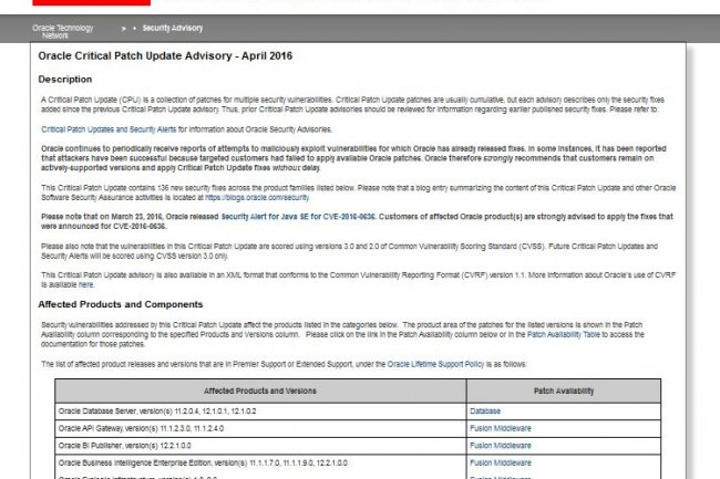 Dans son Critical Patch Update d'avril 2016, Oracle utilise CVSS 3.0 pour classifier les vulnérabilités. (crédit : D.R.)