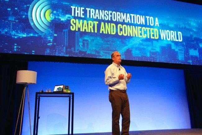 Le CEO d'Intel Brian Krzanich lors d'un événement Internet des Objets à San Francisco le 3 novembre 2015 (Crédit: James Niccolai)