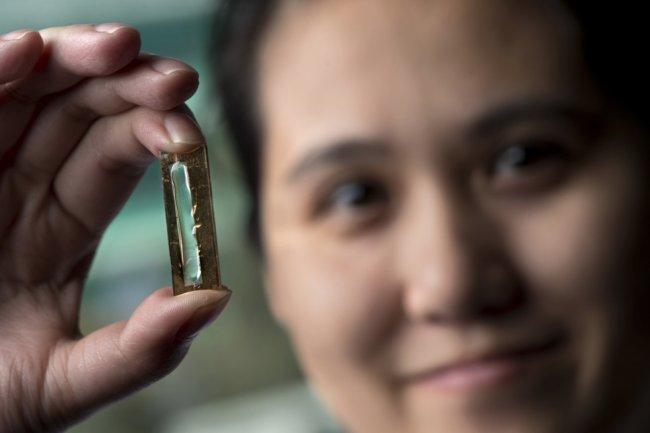 Mya Le Thai, doctorante à l'Université de Californie, Irvine (UCI) présente un dispositif à base de nanofils qui a la capacité de supporter des centaines de milliers de recharges sur une batterie lithium-ion. (crédit : D.R.)