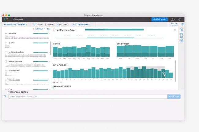 Wrangler Enterprise de Trifacta  a pour but de permettre à n'importe quel utilisateur de travailler avec des données issues d'Excel ou des outils d'analyse visuelle. Crédit : D.R