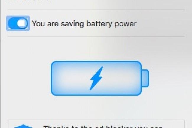 Une grande icône de batterie indique quand le mode économie d'énergie est activé. Il est possible de désactiver la fonction dans le menu Paramètres.