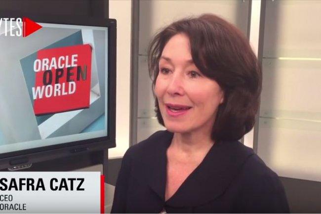 Safra Catz, co-CEO d'Oracle, assure que Sun n'a pas �t� rachet� avec l'objectif d'attaquer Google sur l'utilisation de Java dans Android. (ci-dessus, lors d'OpenWorld 2015 / Cr�dit : D.R.).