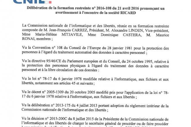 Des données personnelles d'un programme de fidélité en open-bar sur le web amène la CNIL à sanctionner Ricard.