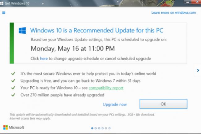 La dernière fenêtre de montée de version vers Windows 10 scandalise bon nombre d'utilisateurs se sentant piégés par Microsoft. (crédit : D.R.)