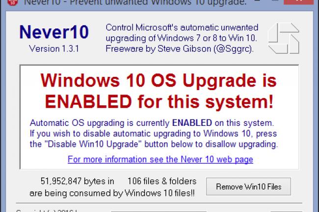 Les outils tels que Never 10 permettent de bloquer la mise à jour de Windows 10.