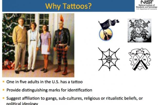 Devant l'indignation de l'EFF, l'institut national des standards et de la technologie américain a rayé la religion de ses items de catégorisation relative à la reconnaissance de tatouages. (crédit : INST)