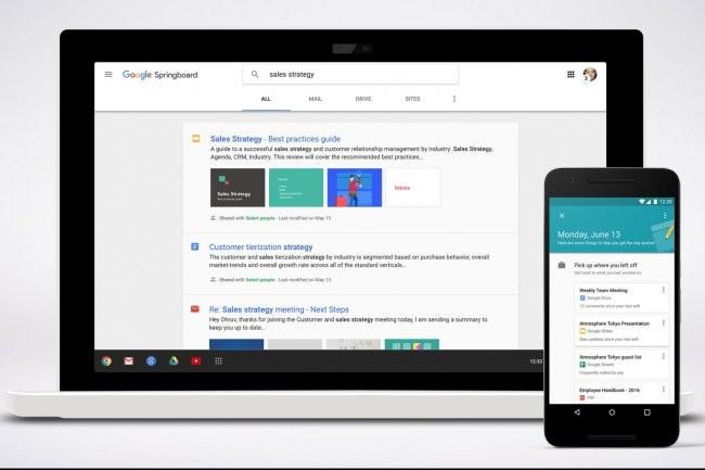 Avec Springboard, Google veut aider les entreprises � retrouver leurs fichiers dans ses apps en ligne.