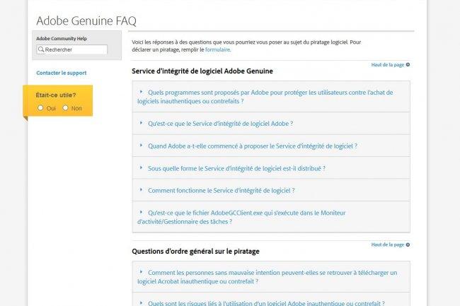 Mis en place avec les clients, Adobe Genuine est présenté comme un programme de protection contre l'achat de logiciels contrefaits.