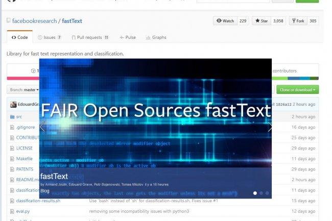 L'équipe de chercheurs en intelligence artificielle de Facebook vient de mettre son outil fastText sur GitHub.