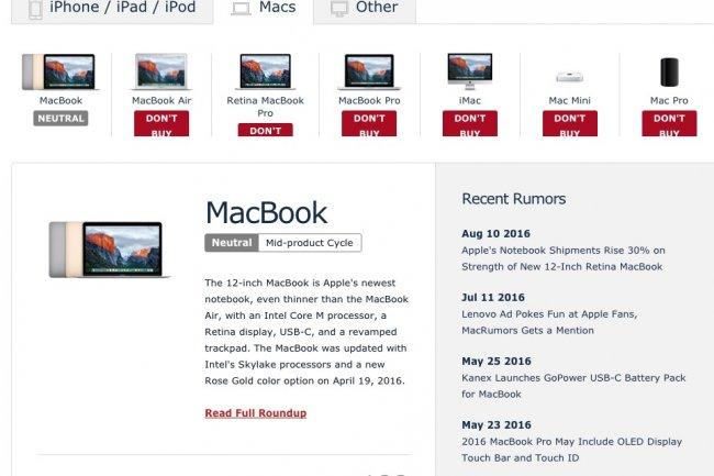 MacRumors déconseille fortement l'achat d'un Macbook ou d'un iMac puisqu'un renouvellement est attendu en octobre.