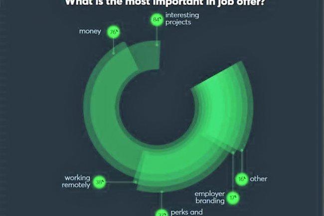 Une enquête de Netguru liste les critères de choix des développeurs à la recherche d'un poste : l'intérêt pour le projet devance le salaire. (cliquer sur l'image)