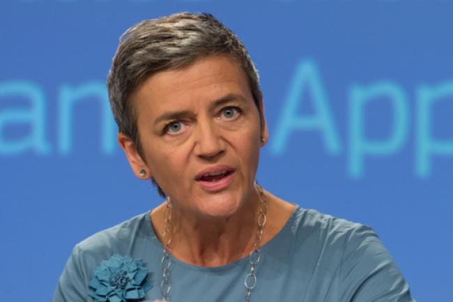 Margrethe Vestager, la Commissaire européenne chargée de la concurrence, lors de la conférence de presse du 30 août, 2016, à Bruxelles, où elle a annoncé les résultats de l'enquête sur les allègements fiscaux dont aurait bénéficié Apple en l'Irlande. (Crédit: Georges Boulougouris)