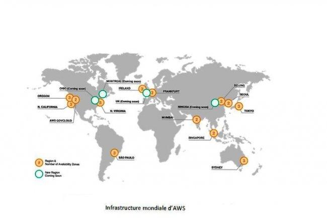 Le fournisseur de services cloud AWS ouvrira 4 nouvelles régions d'hébergement en 2017, en Chine, au Canada, aux Etats-Unis et en France. (crédit : D.R.)