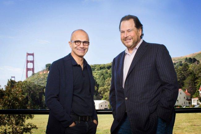 Dans la Silicon Valley, les apparences sont toujours trompeuses, les relations ont toujours été complexes entre Satya Nadella et Marc Benioff. (Crédit D.R.)