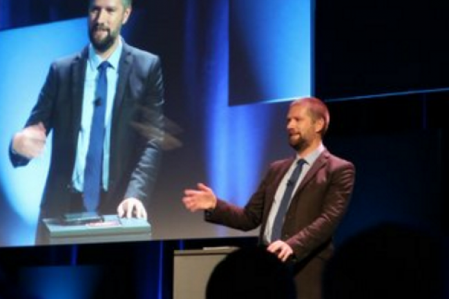 Guillaume Poupard, directeur général de l'ANSSI lors de son discours inaugural des Assises de la sécurité 2016 à Monaco le 5 octobre. (crédit : D.R.)