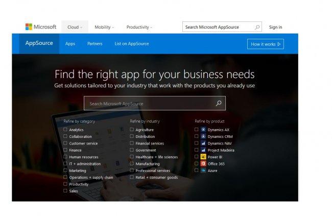 Pour étendre les fonctionnalités de la nouvelle application cloud Dynamics 365 de Microsoft, des apps spécifiques seront disponibles sur le site AppSource.