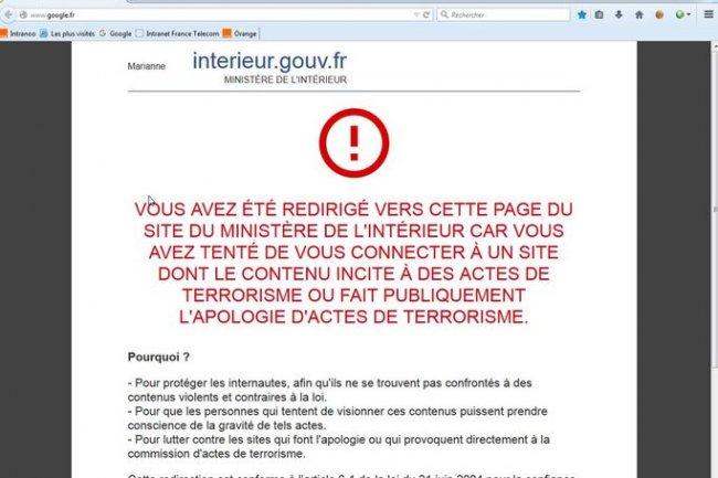 Un problème au niveau d'Orange a redirigé des utilisateurs vers la page de notification du ministère de l'Intérieur pour apologie de terrorisme. Crédit: D.R.