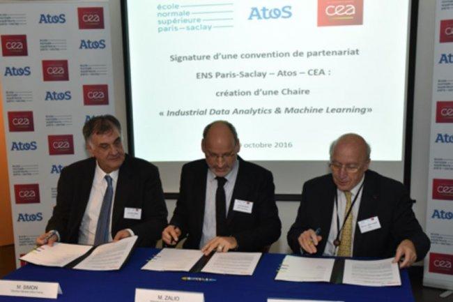 La formation, la recherche et le soutien au développement de start-up seront les piliers de la Chaire « Industrial Data Analytics & Machine Learning » née d'un accord conclu hier entre Atos, l'ENS Paris-Saclay et le CEA. Crédit : Atos