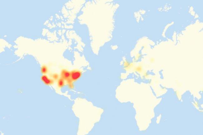 Les régions touchées hier par l'attaque DDoS subie par Dyn, principalement aux Etats-Unis et dans une moindre mesure en Europe. (source : NYT/Downdetector)
