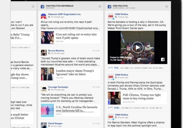 CrowdTangle propose des tableaux de bord pour suivre les comptes Facebook que l'on veut suivre en temps réel. (crédit : D.R.)