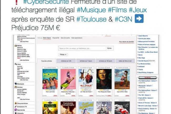 La Gendarmerie Nationale se félicite sur Twitter de la fermeture du site ZoneTéléchargement.com.