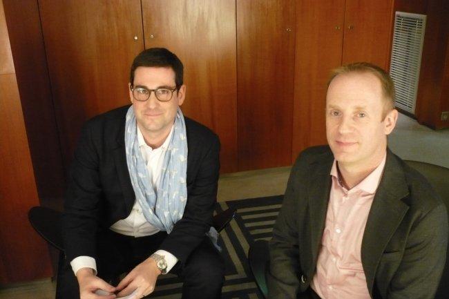 Andrew Beers, directeur du développement de Tableau Software (à droite), et Edouard Beaucourt, directeur France et Europe du Sud, le 5 décembre 2016 à Paris. (crédit : LMI)