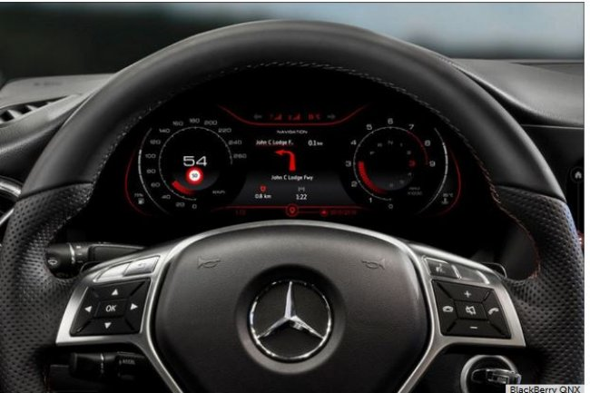 L'industrie automobile repr�sente d�j� la principale source de revenus de la plate-forme logicielle int�gr�e QNX de BlackBerry. (cr�dit : D.R.)