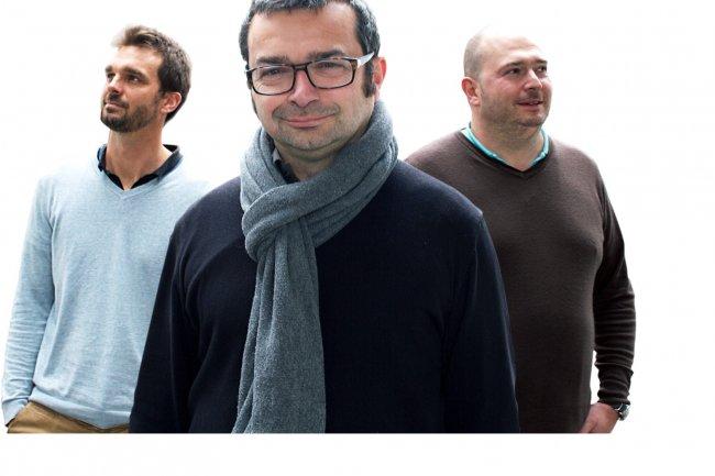 Eric Sénéchal (à gauche) et Sébastien Bruhat (à droite) ont co-fondé Brainify pour aider les TPE/PME du e-commerce à analyser les ventes de leurs e-boutiques. Ils ont été rejoint par Pawel Visor, CMO (agrandir l'image). (crédit : D.R.)