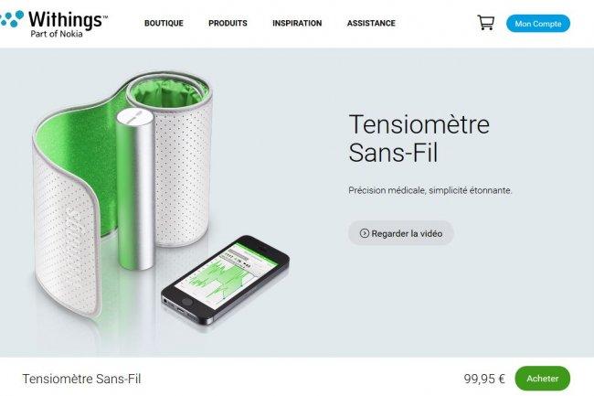 Le tensiomètre connecté de Withings n'est plus accessible sur la boutique en ligne d'Apple qui le signale par un message. (crédit : D.R.)