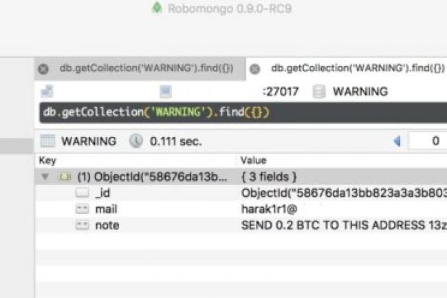 En cas d'exploit du ransomware, l'administrateur de sa base de données MongoDB a la mauvaise surprise de se voir demander le paiement de 0,2 bitcoin soit plus de 200 euros pour accéder de nouveau à ses fichiers. (crédit : Victor Grevers / Sragan)