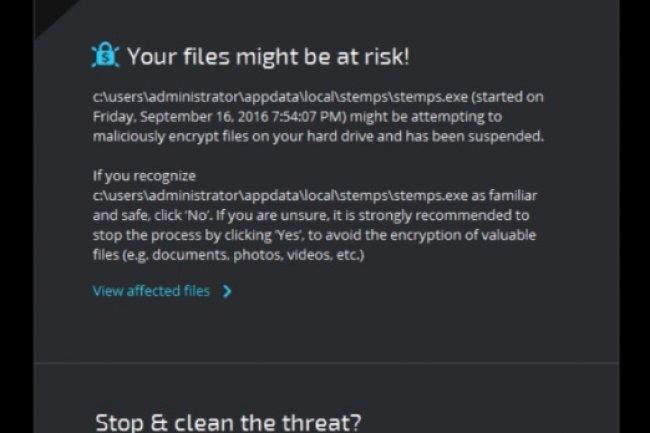 Une fenêtre de Ransomfree alerte l'administrateur quand un processus malicieux est détectée. (crédit : D.R.)